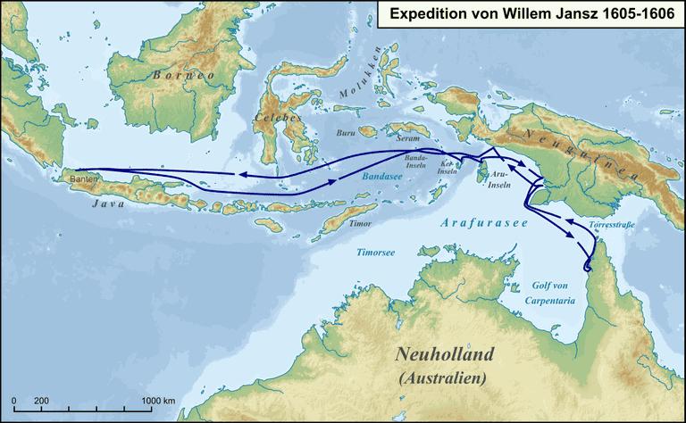 Karte Expedition Willem Jansz 1605-1606
