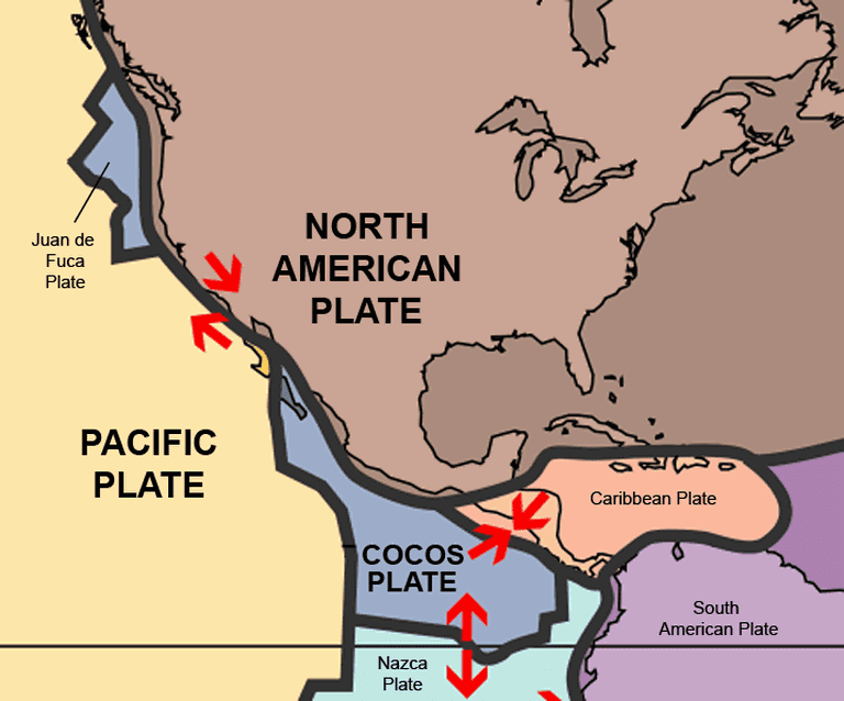Tectonic plates in North America | © AlexCovarrubias/WikiCommons