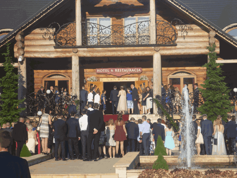 Guests gather for a Polish wedding
