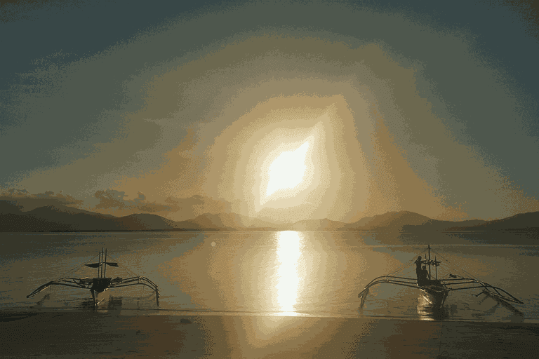 Sunset at Pandan Island, Palawan