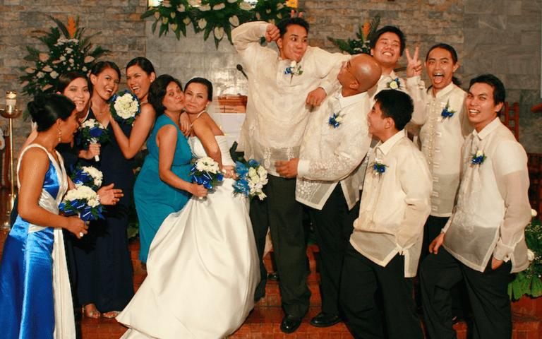 """""""Wacky"""" wedding group photo"""