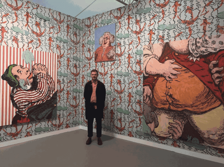 Charlie Billingham in his installation on Galería Travesía Cuatro's stand, Frieze London 2017