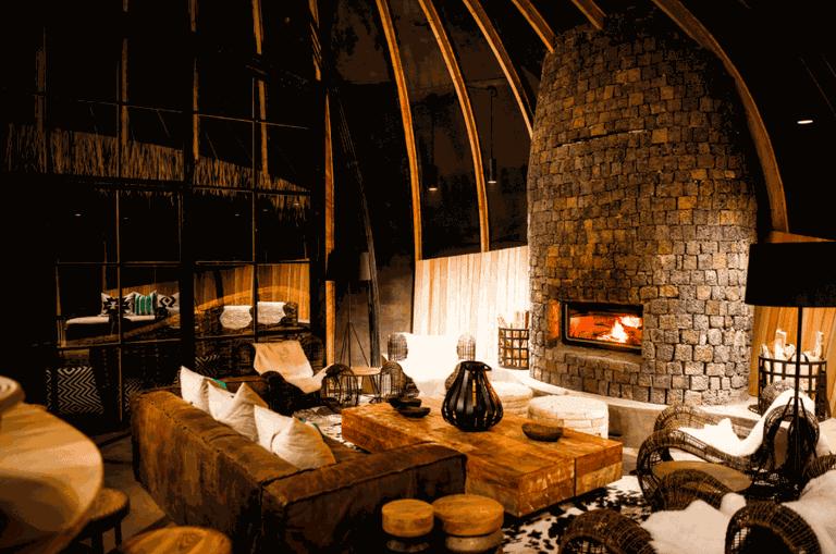 Fireside lounge at Bisate Lodge