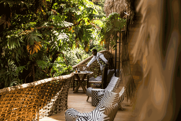 Lunch is served on the balcony at Bisate Lodge