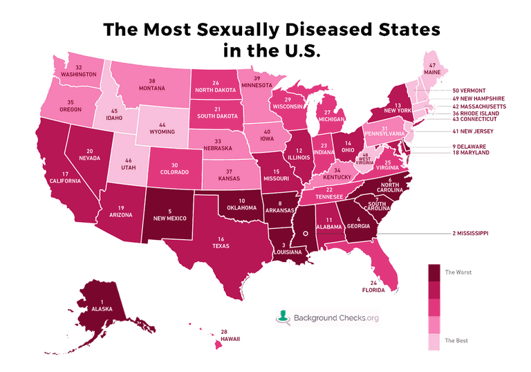 The maps shows the rate of sexual disease in US states|© backgroundchecks.org