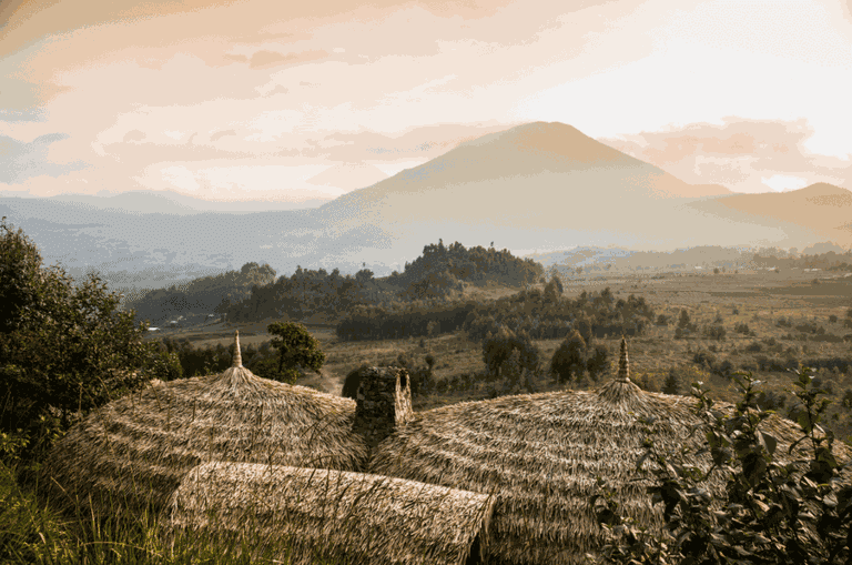 Volcanoes view at Bisate Lodge