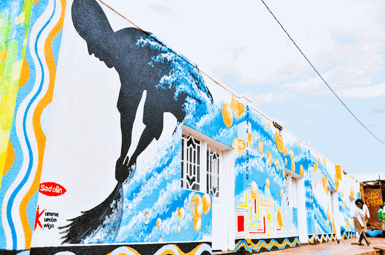 Mural about clean water and living