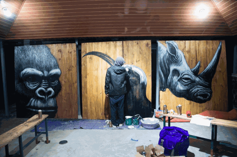 ROA paints at Volcanoes National Park Headquarters