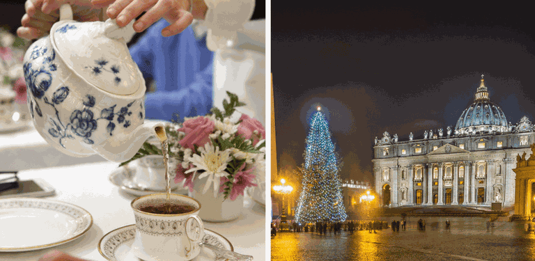 A Victorian afternoon tea | © Courtesy of Babingtons, The Vatican at Christmas | © Giuseppe Milo/Flickr