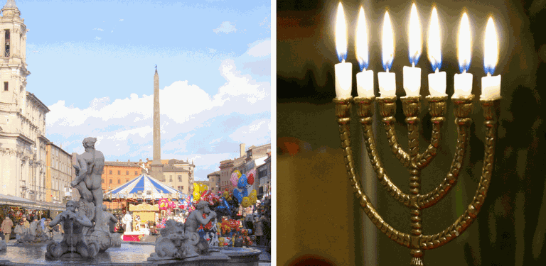 Piazza Navona's Christmas Fair | © MollySVH/Flickr, One candle of the menorah is lit each evening during Hanukkah | © s2dent/Pixabay