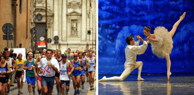 Marathon Runners in Rome | © Philippe Roos/Flickr, A performance of The Nutcracker | © Larry Lamsa/Flickr