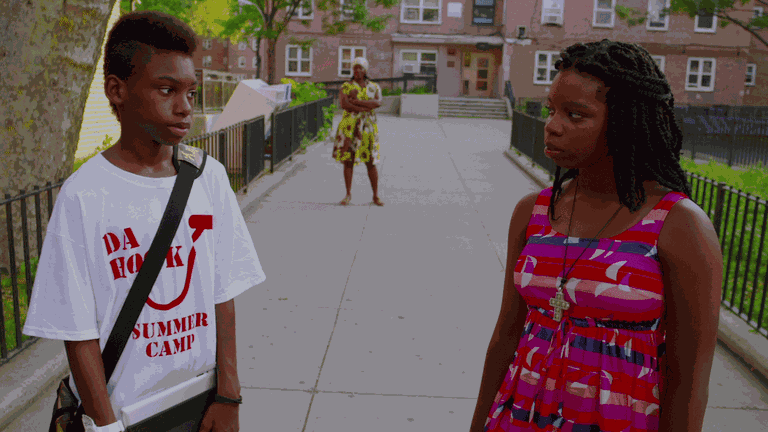 Flik (Jules Brown) and his friend Chazz (Toni Lysaith) in 'Red Hook Summer' | © Variance Films