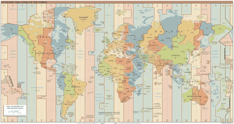 Standard time zones