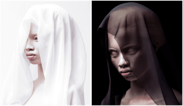 Left: Justin Dingwall/Thando Hopa, Untitled (White Veil), 2013; Right: Justin Dingwall/Thando Hopa, Untitled (Black Veil) | Courtesy MIA Gallery