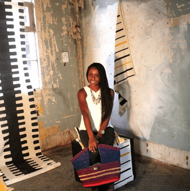 Akosua with one of her designs | Courtesy of Akosua Afriyie-Kumi