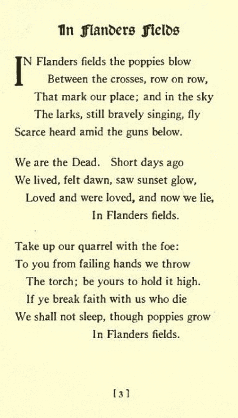 """Typeset version of """"In Flanders Fields"""" from In Flanders Fields and Other Poems   © Richwales WikiCommons"""