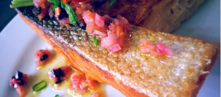 Bomlø salmon, with gratin dauphinois and carrot
