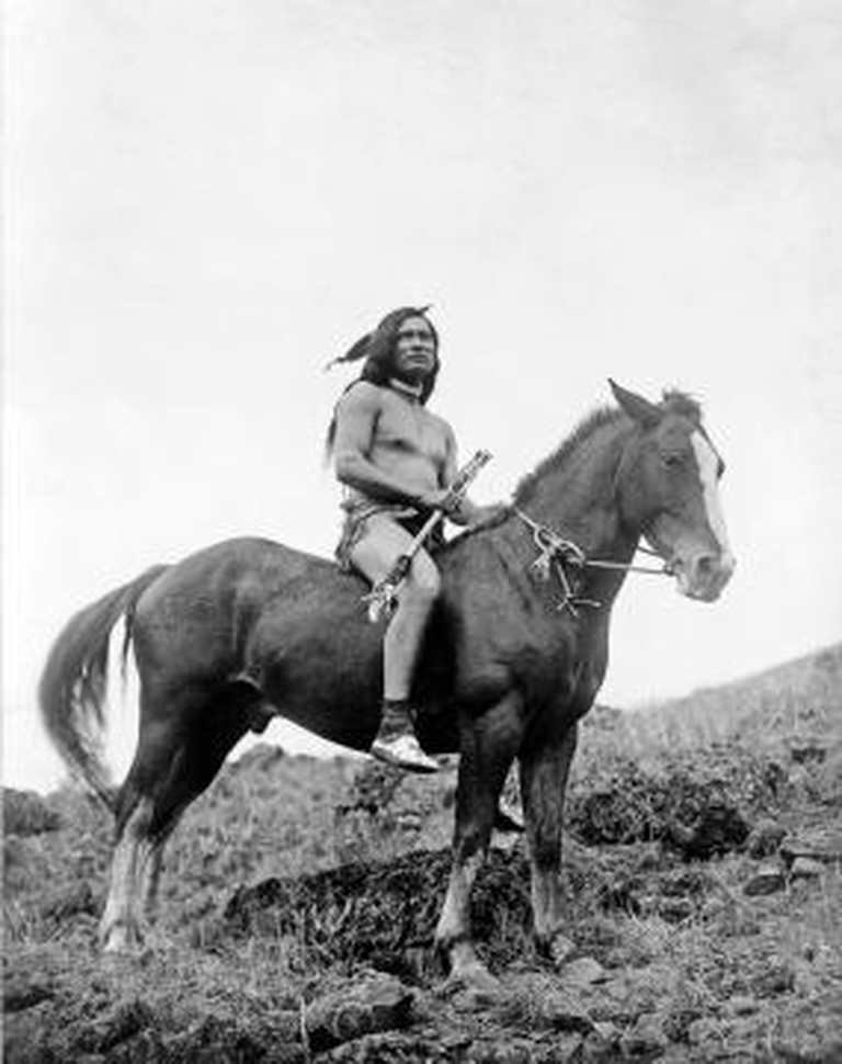 Nez Perce warrior on a horse, 1910