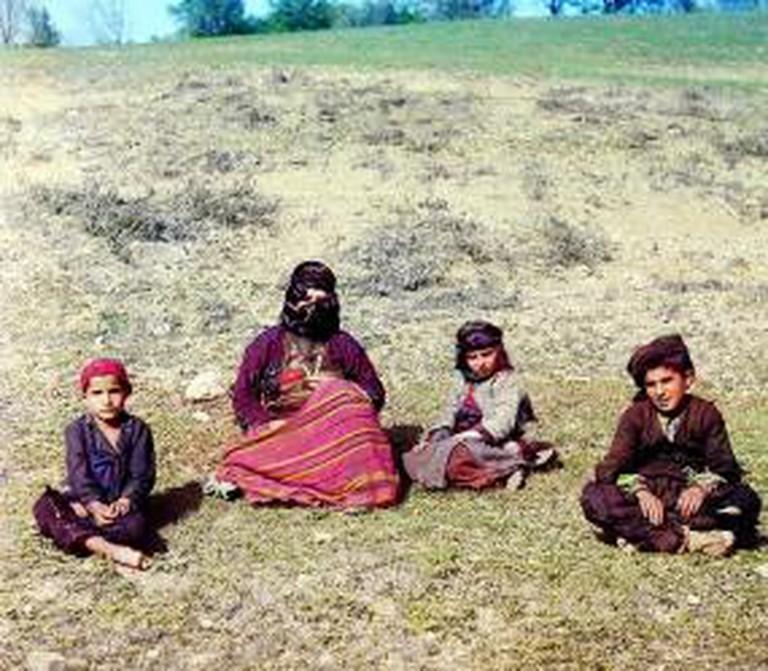 Kurdish woman with children