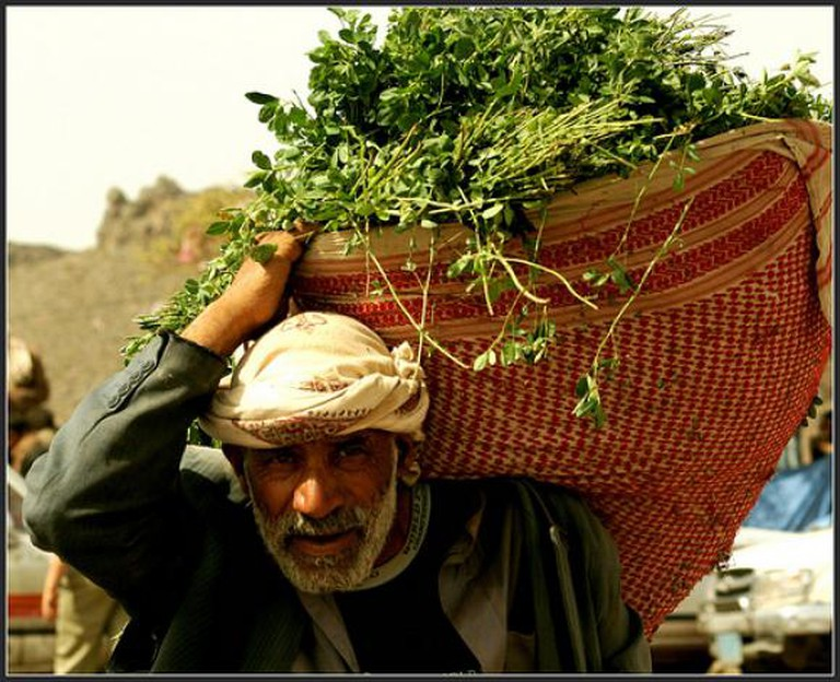 Man carrying a basket of khat