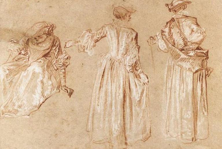 Watteau, drawing of a woman
