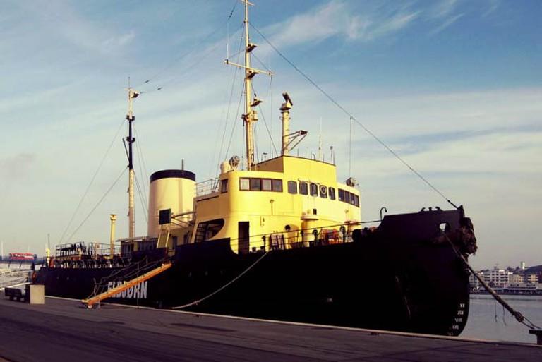 ELBJØRN - a ship converted to a restaurant, Aalborg, Denmark