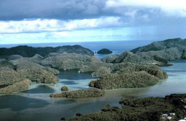 Aerial view of the limestone islands of Palau