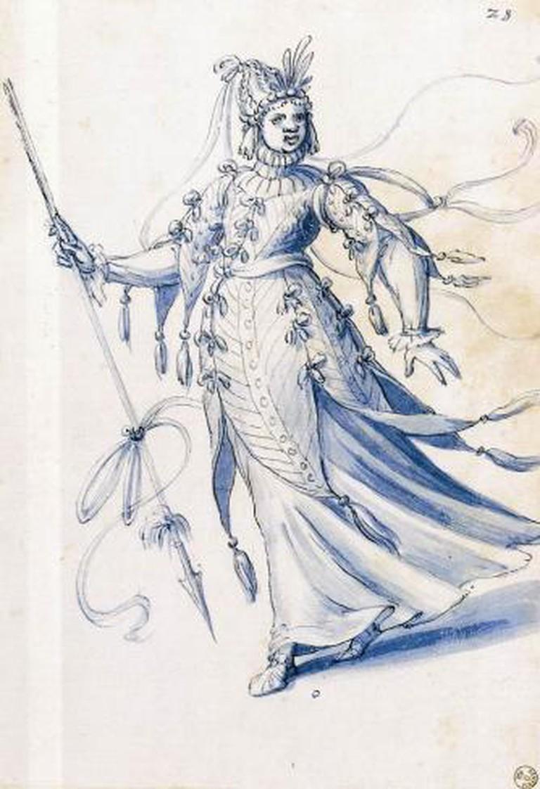 Giuseppe Arcimboldo, Costume drawing of a woman bearing a lance, 1585