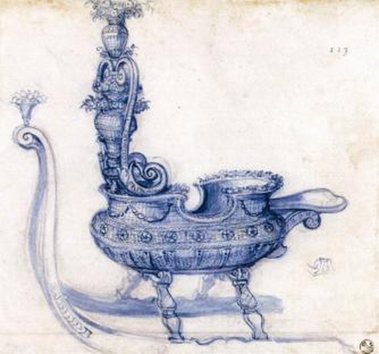 Giuseppe Arcimboldo, Sketch for a Sleigh Shaped like a Basket of Flowers, 1585