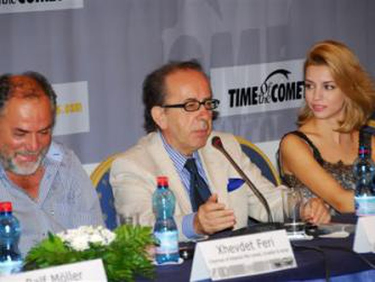 Masiela Lusha and Ismail Kadare answering questions during a press conference for the film, Time of the Comet