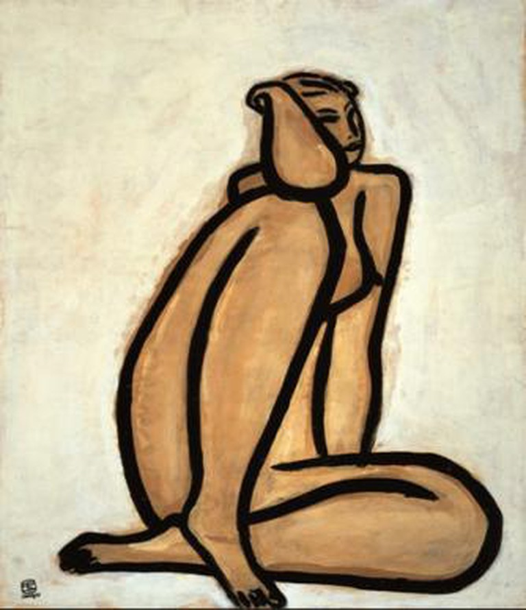 Sanyu, CR 38, Seated Nude, 1950s, oil on paper mounted on board, 68.5 x 58.5 cm.