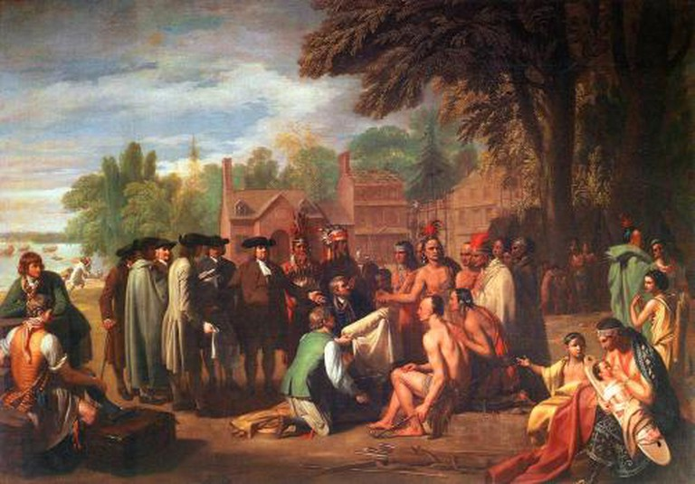 Benjamin West, The Treaty of Penn with the Indians, 1771-1772, 190 × 274 cm (74.8 × 107.9 in)