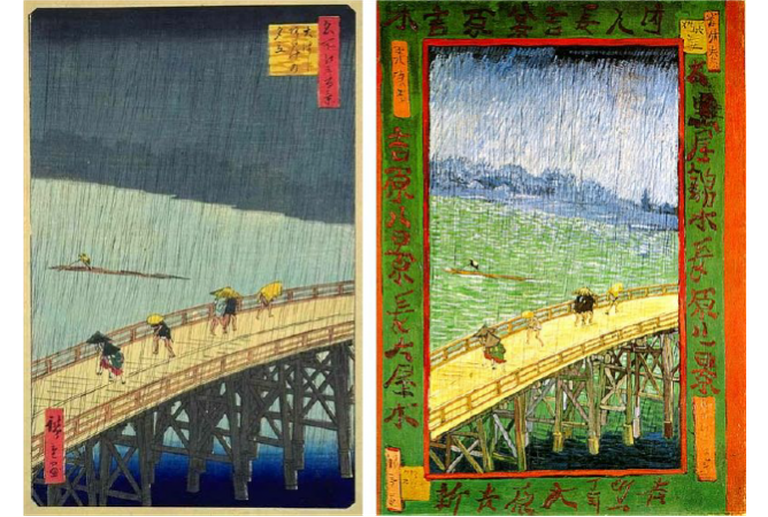 Comparison of works by Hiroshige (L) and Van Gogh (R)