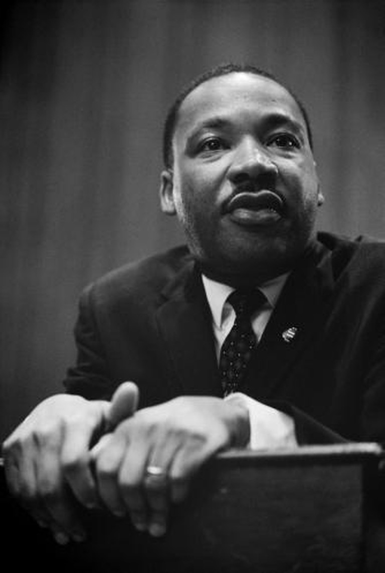 Martin Luther King at a press conference
