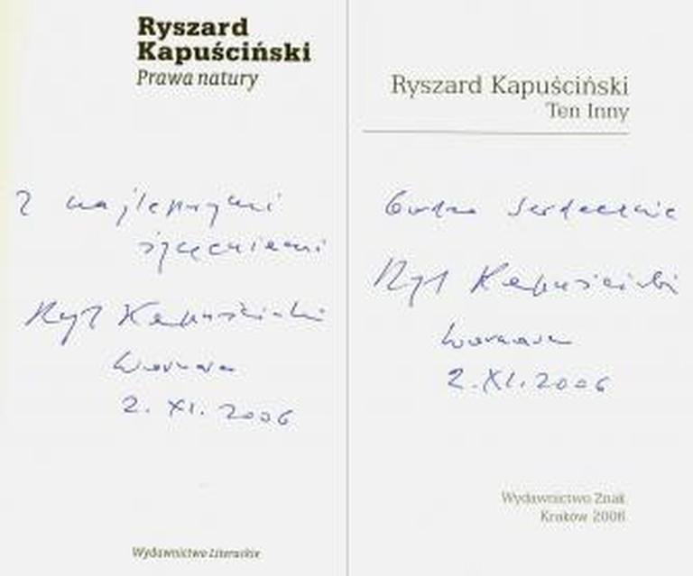 Ryszard Kapuściński's autographs