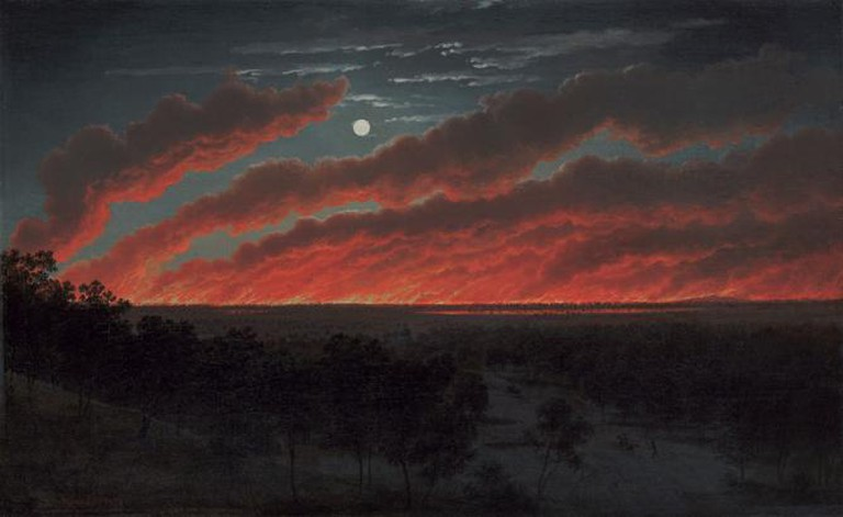 Eugene von Guarard, Bush Fire, 1859