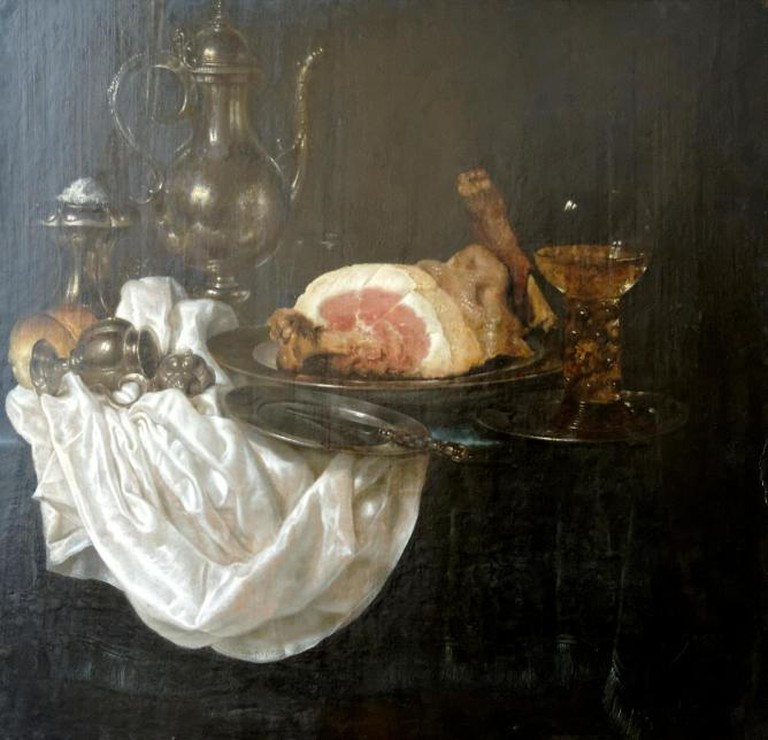 Willem Claeszoon Heda, Still life with ham, silver jug and roemer (1656)