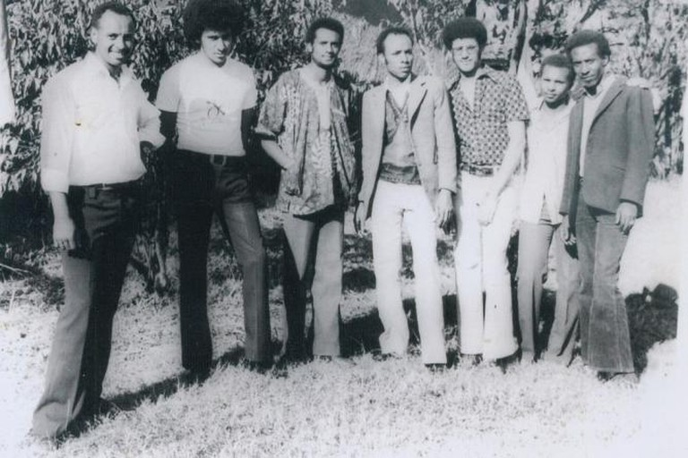 Ali (standing in the middle) and his band mates in Jimma, Western Ethiopia, 1973