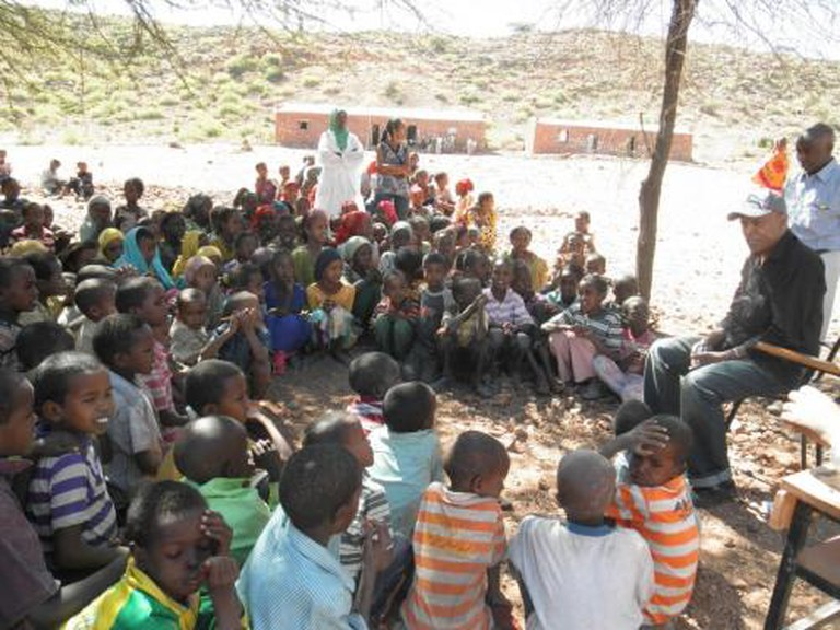Ali Birra at the launch of his school support programme in Galamso, Western Ethiopia, November 2012