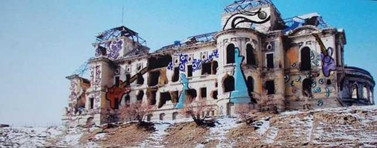 Shamsia Hassani, 'Dreaming Graffiti at Darulaman Palace', 2012. Image courtesy the artist.