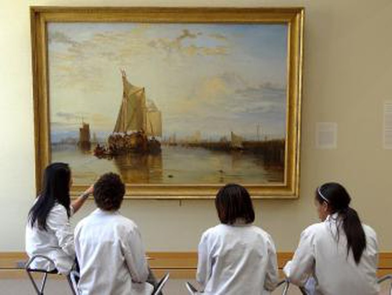 Medical Students Study Painting by J.M.W. Turner (Dort, or Dordrecht, the Dort Packet-Boat from Rotterdam) - Yale Center for British Art