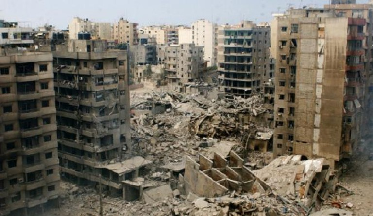 Lebanon's Haret Hreik district in 2006, during the Israeli conflict
