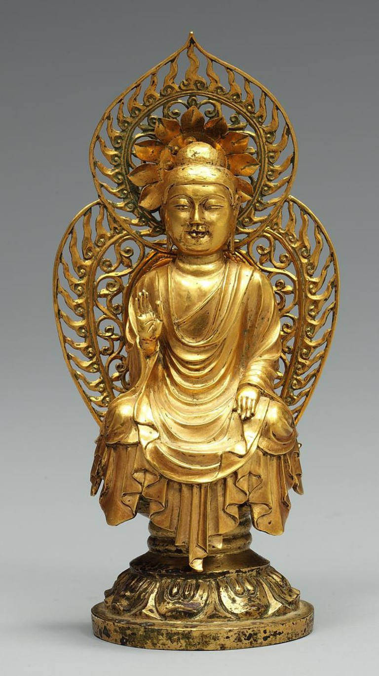 Buddha, probably Amitabha (Korean: Amita). Korea, Silla kingdom, ca. 706. From the pagoda at Hwangboksa Temple site. Gold; H. 4 3/4 in. (12.2 cm) | © National Museum of Korea, National Treasure 79