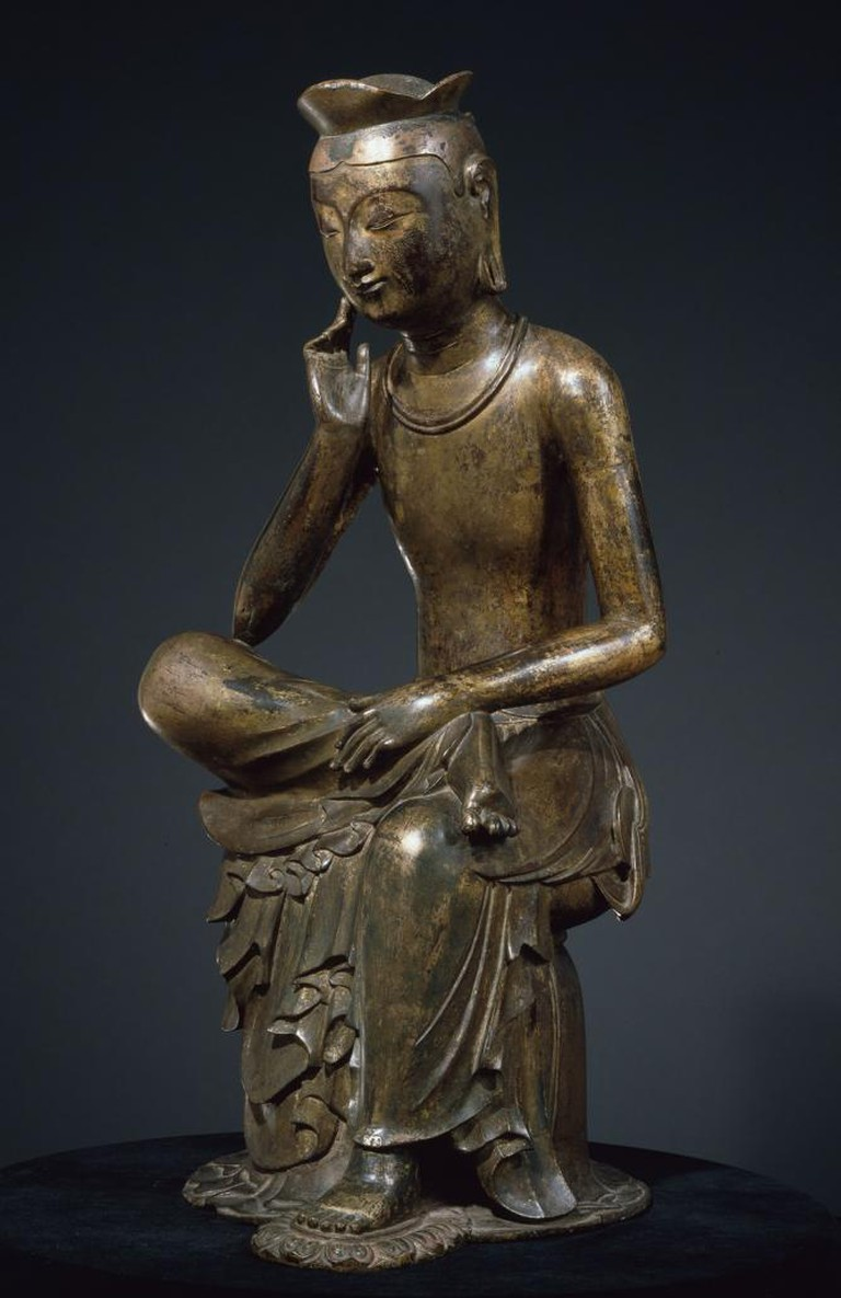 Bodhisattva in pensive pose, probably Maitreya (Korean: Mireuk). Korea, Silla kingdom, late 6th-early 7th century. Gilt bronze; H. 36 7/8 in. (93.5 cm) | © National Museum of Korea, National Treasure 83