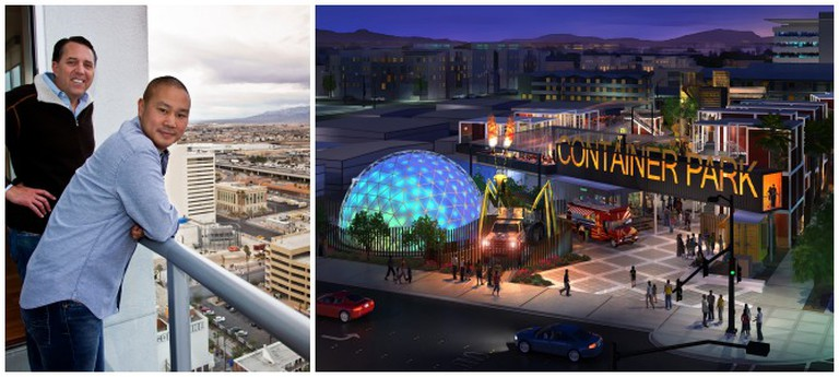 Left: Zappos founder Tony Hsieh (on right); Right: Downtown Project Container Park Rendering