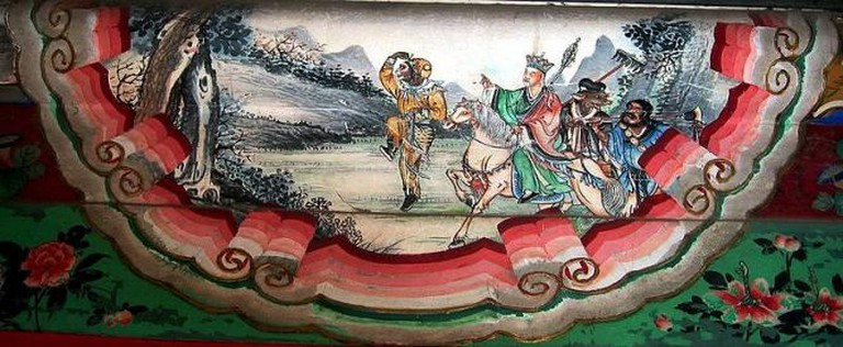 Photograph of painting depicting a scene from the Chinese classic Journey to the West