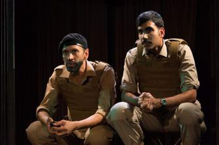 Paul Bazely (Soldier 1), Jaz Deol (Soldier 2), The Djinn of Eidgah, 2013 | Photo by Manuel Harlan/Royal Court Theatre