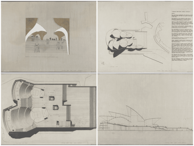 NRS 12825: Competition drawings submitted by Jørn Utzon to the Opera House Committee.