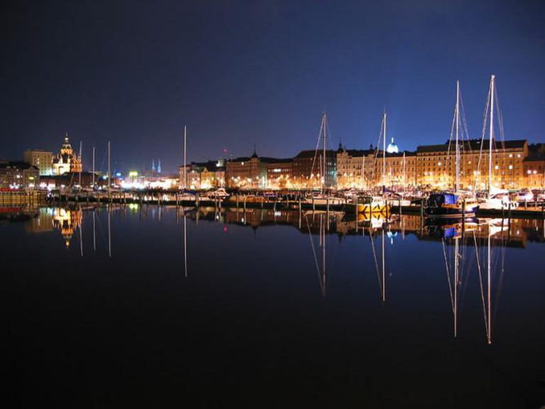 Pohjoisranta (The Northern Shore) of Helsinki at Night.