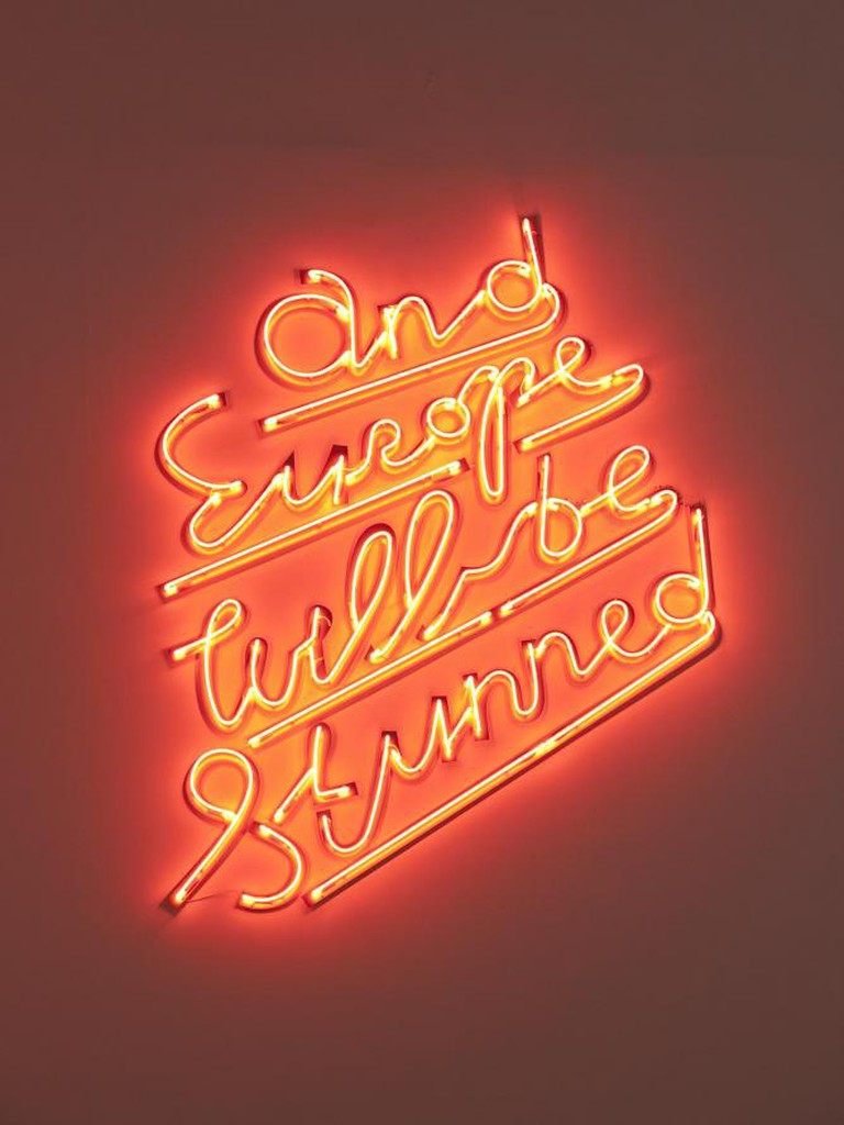 Yael Bartana, 'and Europe will be stunned' 2010, neon/Photo courtesy the artist and Annet Gelink Gallery, Amsterdam.